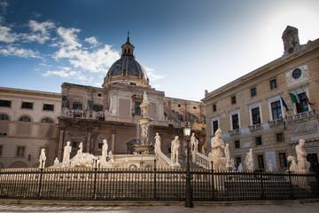 PALERMO, ITALY - October 13, 2009: Marble statue of Piazza Pretoria, Sicily