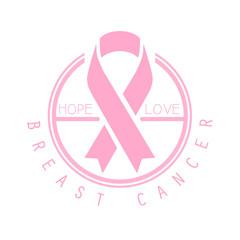 Breast cancer, hope, love label. Vector illustration in pink colors