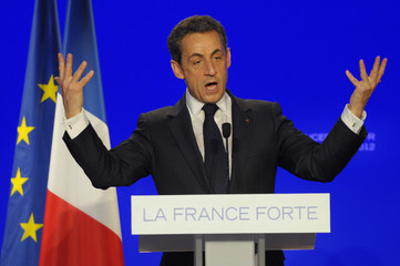 France's President and UMP party candidate for the 2012 French presidential elections Nicolas Sarkozy at a political campaign rally in Le Raincy