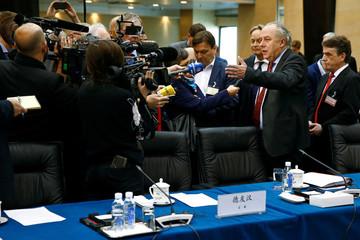 Machnig speaks to reporters in Beijing