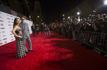 """Cast member Robert Downey Jr. and his wife Susan pose at the premiere of """"Avengers: Age of Ultron"""" at Dolby theatre in Hollywood"""
