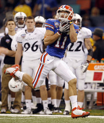 Florida's Cooper races to the end zone in the second quarter against Cincinnati during the NCAA Sugar Bowl football game in New Orleans