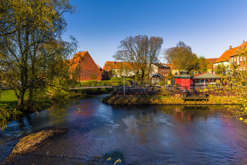 Ribe, Denmark - April 30, 2017: Old Town of Ribe