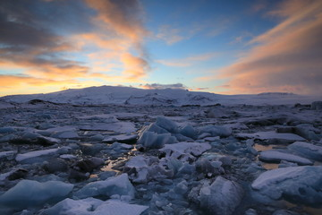 Sunset at Jokulsarlon Glacier lake, Iceland