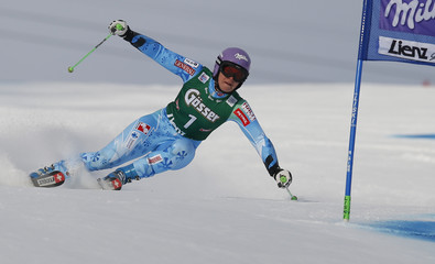 Slovenia's Maze clears a gate during the first run of the women's giant slalom World Cup race in Lienz