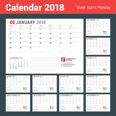 Calendar template for 2017 year. Business planner. Stationery design. Week starts on Monday. 2 Months on the page. Vector illustration