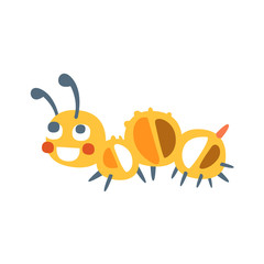 Cute cartoon caterpillar colorful character vector Illustration
