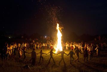 People take part in the Ivan Kupala festival near the town of Rakov