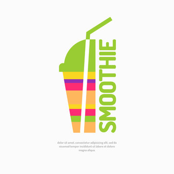 Vector illustration of a smoothie, with a glass and a straw