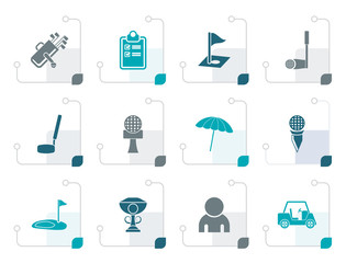 Stylized golf and sport icons - vector icon set