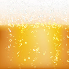 Beer Background Texture With Foam And Vubbles. Macro Of Frefreshing Beer. Vector Illustration