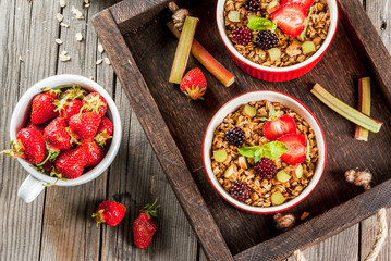 Healthy breakfast. Oatmeal granola crumble with rhubarb, fresh strawberries and blackberries, seeds and ice cream in baked bowls, decorated with mint, on a wooden rustic table in old tray, top view