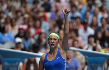 Azarenka of Belarus acknowledges the crowd after defeating Barthel of Germany at the Australian Open tennis tournament in Melbourne