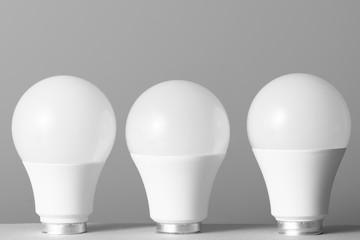 Led light bulbs on gray background