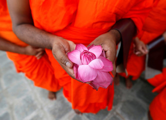 A newly ordained Buddhist monk holds a flower while praying during a ceremony of Upasampada, Buddhist rite of higher ordination, by which a novice becomes a monk, or bhikhu at a Buddhist temple in Colombo