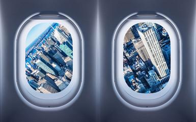 Wall Mural - new york city seen from an aircraft