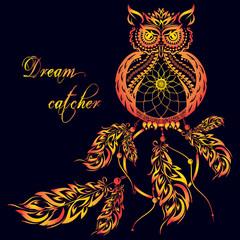 Vector dream catcher owl. Dark background.
