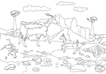 The goat and the goat on a background of mountains of Socotra island. Outline vector pages for adults coloring