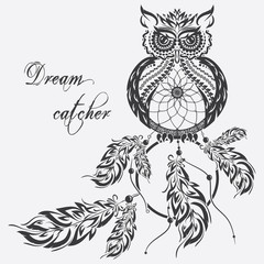 Vector dream catcher owl. White background.