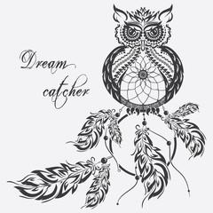 Vector dream catcher owl. White background.