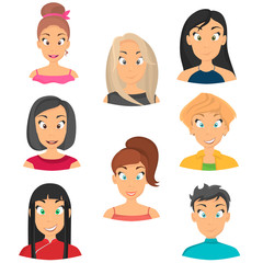 Girls avatars set icons in cartoon style for web and mobile design
