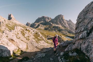 Wanderer auf dem Paternkofel Klettersteig, Italien