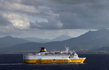 """The car ferry """"Sardinia Vera"""" operated by the Corsica Ferries company arrives at the harbour of Bastia on the French Mediterranean island of Corsica"""
