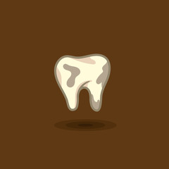 Vector illustration of a tooth man with plaque on a colored background