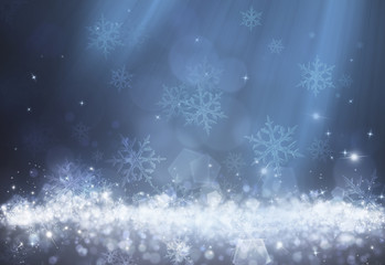 Blue dot light and snowflake effect on dark background