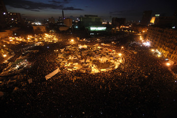 Opposition supporters gather in their stronghold of Tahrir Square, in Cairo