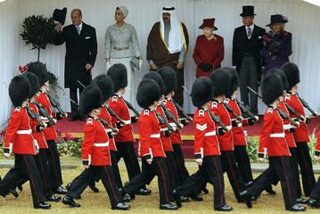 Britain's Queen Elizabeth stands with Qatar's Emir Sheikh Hamad bin Khalifa al-Thani during his state visit in Windsor