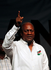 John Dramani Mahama, Ghana's president and National Democratic Congress (NDC) presidential candidate gestures during his rally at Accra sport stadium