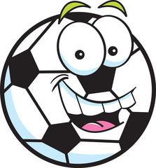Cartoon illustration of a smiling soccer ball.