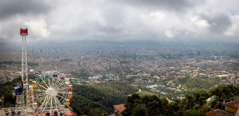 Aerial panoramic view on Barcelona town from Tibidabo mount, Spain