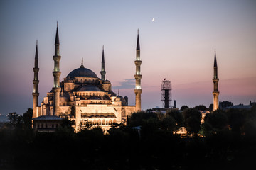 Istanbul's Blue Mosque at Sunset