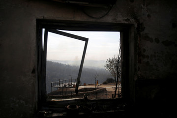 A firefighter is seen through the window frame of a house damaged during a wildfire, in the communal settlement of Nataf, near Jerusalem