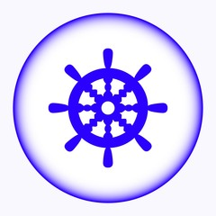 Vector rudder web flat icon. Eps 10 illustration. Boat wheel control icon