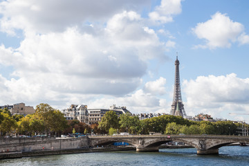 Landscapes of Paris:  view of la Seine and Eiffel tower in afternoon sun