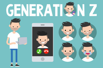 Generation Z conceptual set: sign, full length young man holding laptop, smart phone and 4 icons with different emotions