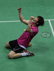 Shon of South Korea celebrates after winning the men's singles final match against Lee of Malaysia at the India Open Super Series badminton tournament in New Delhi