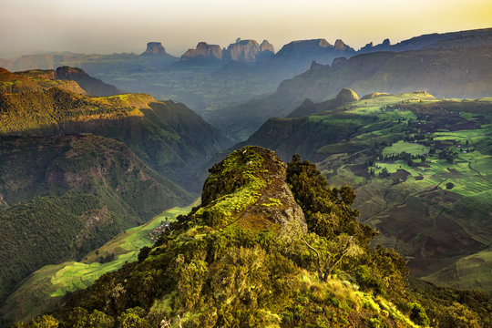 Ethiopia. Simien Mountains National Park. View point near Chenek Camp