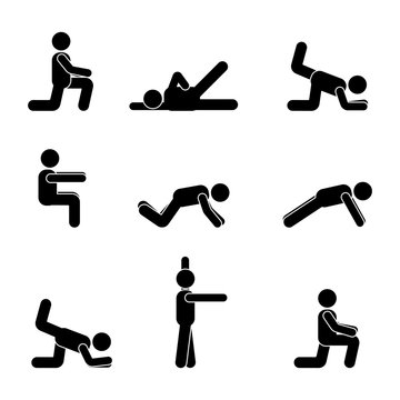Exercises body workout stretching man stick figure. Healthy life style vector pictogram.