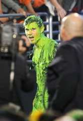 Actor Taylor Lautner is pictured after getting slimed at Nickelodeon's 25th annual Kids' Choice Awards in Los Angeles