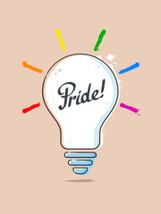 Light bulb painting with PRIDE text and light rays colored as rainbow lgbt flat. Gay concept vector illustration