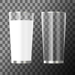 Glass of milk and empty glass