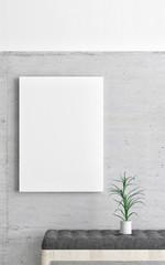 Mock up poster, minimalism  interior background, 3d illustration
