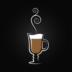 Latte logo. Coffee cup design background