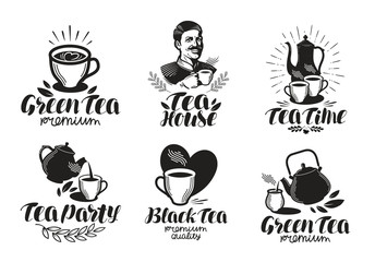 Tea label set. Drink, teapot icon or logo. Handwritten lettering vector illustration