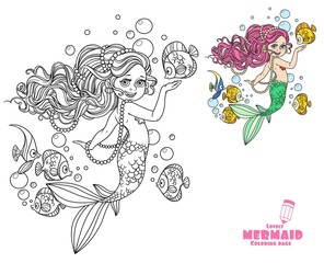 Beautiful little mermaid girl coloring page on a white background