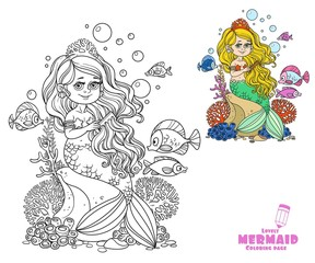 Beautiful little mermaid girl sits on a rock and combs her hair with a comb coloring page on a white background